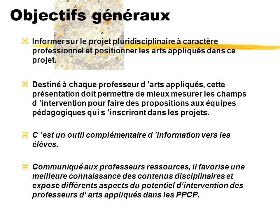 Contenu zDéfinition générale du PPCP zles arts appliqués yprésentation générale de la discipline yun vaste domaine de communication .