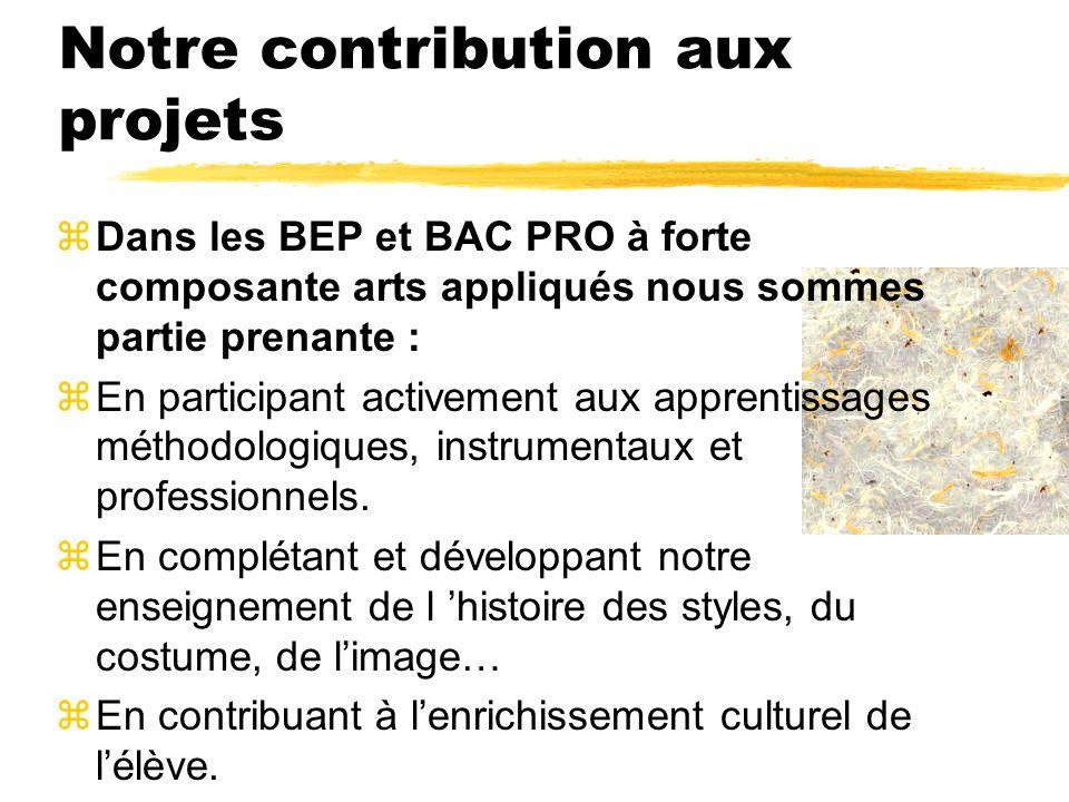 Notre contribution aux projets zDans les BEP et BAC PRO à forte composante arts appliqués nous sommes partie prenante : zEn participant activement aux