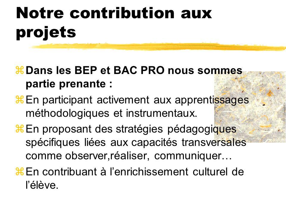 Notre contribution aux projets zDans les BEP et BAC PRO nous sommes partie prenante : zEn participant activement aux apprentissages méthodologiques et