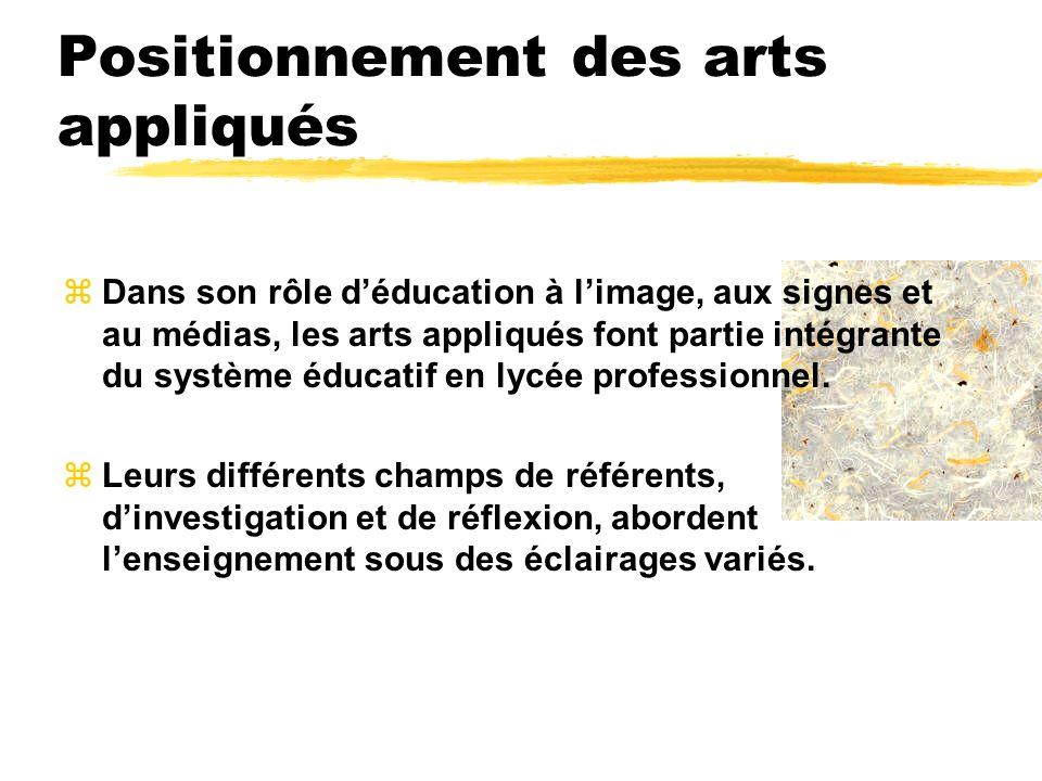 Positionnement des arts appliqués zDans son rôle déducation à limage, aux signes et au médias, les arts appliqués font partie intégrante du système éd