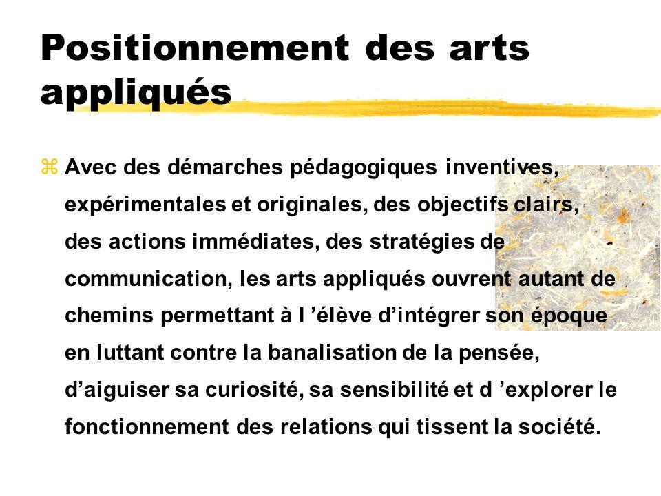 Positionnement des arts appliqués zAvec des démarches pédagogiques inventives, expérimentales et originales, des objectifs clairs, des actions immédia