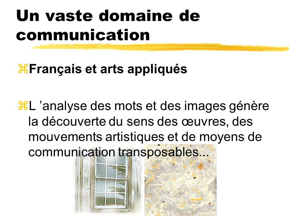 Un vaste domaine de communication zFrançais et arts appliqués L analyse des mots et des images génère la découverte du sens des œuvres, des mouvements