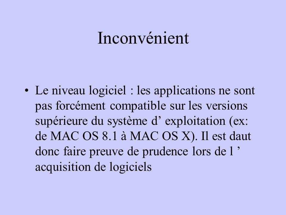 Inconvénient Le niveau logiciel : les applications ne sont pas forcément compatible sur les versions supérieure du système d exploitation (ex: de MAC