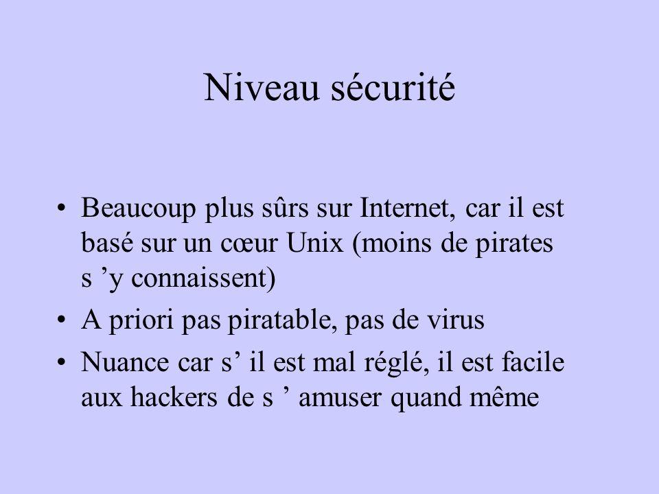 Niveau sécurité Beaucoup plus sûrs sur Internet, car il est basé sur un cœur Unix (moins de pirates s y connaissent) A priori pas piratable, pas de vi