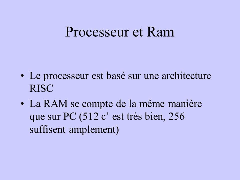 Processeur et Ram Le processeur est basé sur une architecture RISC La RAM se compte de la même manière que sur PC (512 c est très bien, 256 suffisent