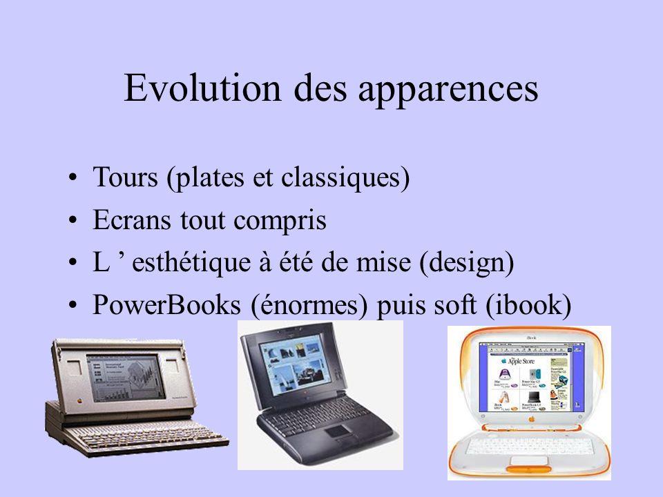 Evolution des apparences Tours (plates et classiques) Ecrans tout compris L esthétique à été de mise (design) PowerBooks (énormes) puis soft (ibook)