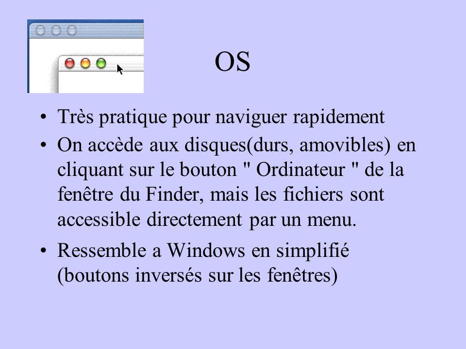 OS Très pratique pour naviguer rapidement On accède aux disques(durs, amovibles) en cliquant sur le bouton