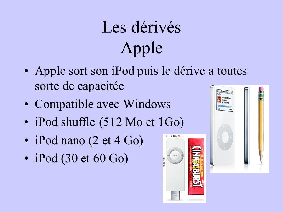 Les dérivés Apple Apple sort son iPod puis le dérive a toutes sorte de capacitée Compatible avec Windows iPod shuffle (512 Mo et 1Go) iPod nano (2 et