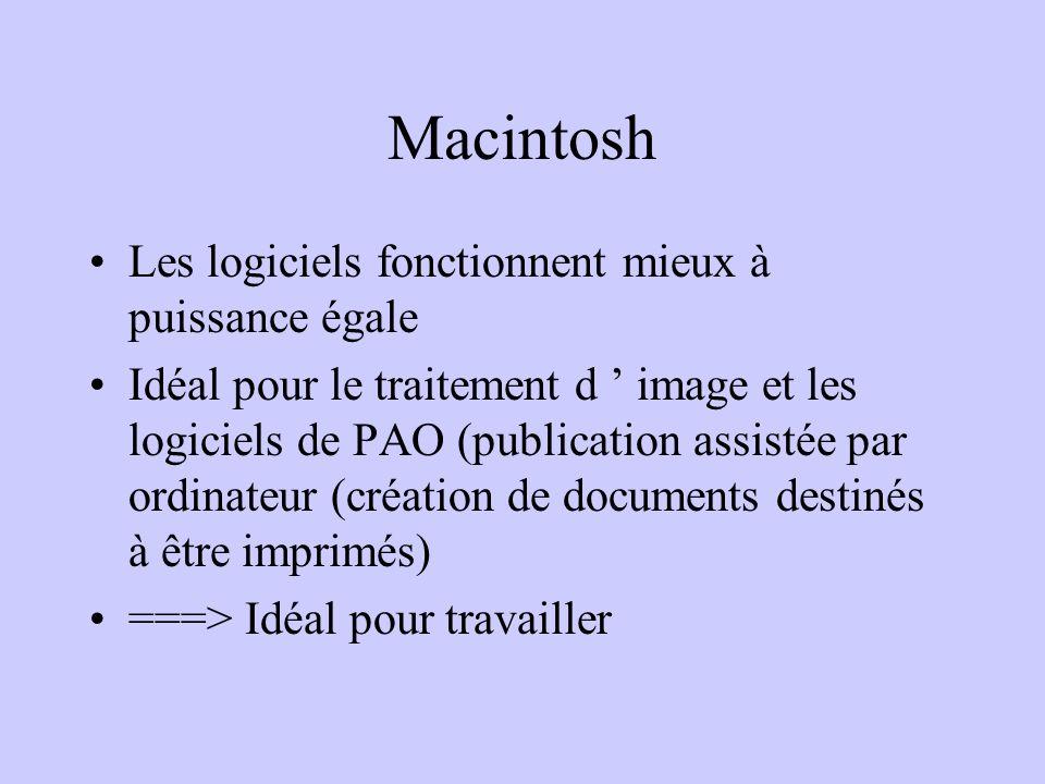 Macintosh Les logiciels fonctionnent mieux à puissance égale Idéal pour le traitement d image et les logiciels de PAO (publication assistée par ordina