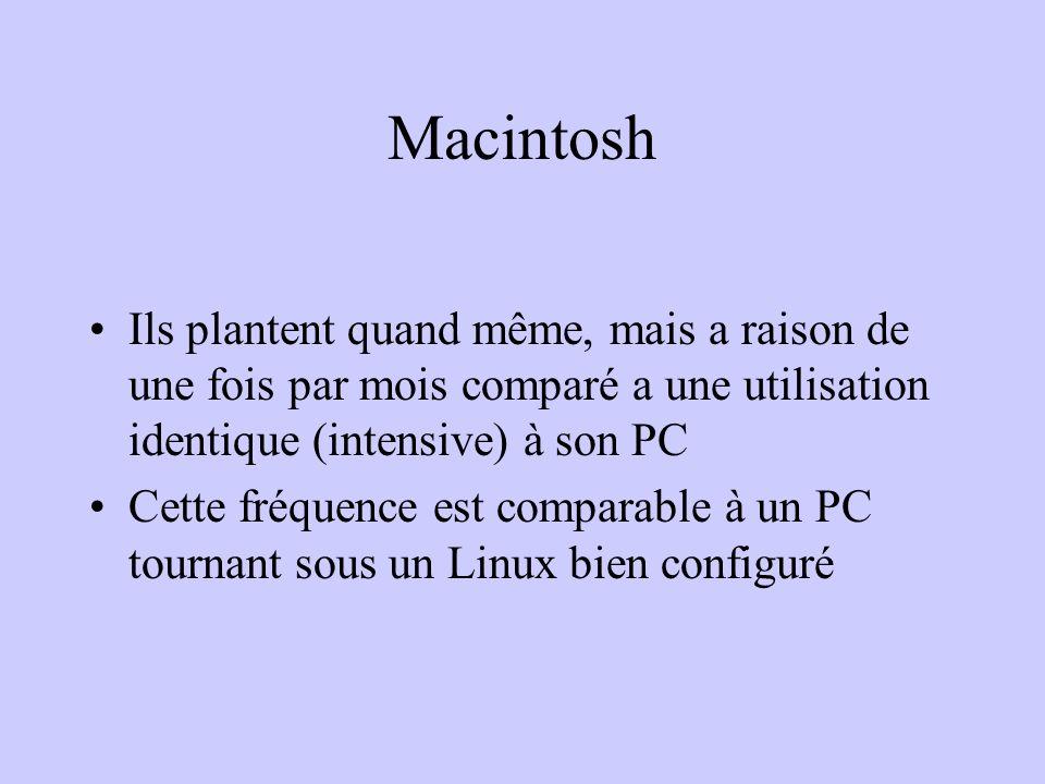 Macintosh Ils plantent quand même, mais a raison de une fois par mois comparé a une utilisation identique (intensive) à son PC Cette fréquence est com