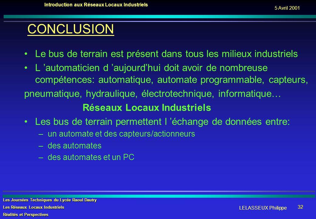 LELASSEUX Philippe Introduction aux Réseaux Locaux Industriels Les Journées Techniques du Lycée Raoul Dautry Les Réseaux Locaux Industriels Réalités e