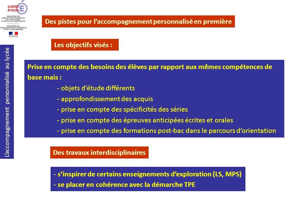 Laccompagnement personnalisé au lycée Des travaux interdisciplinaires Des pistes pour laccompagnement personnalisé en première Les objectifs visés : P