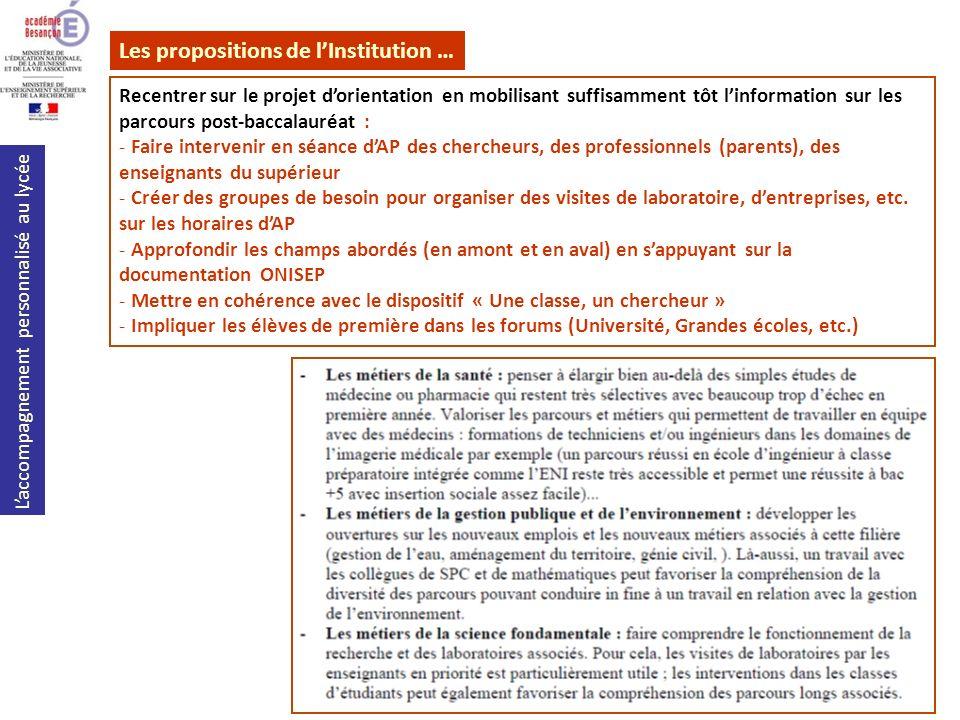 Laccompagnement personnalisé au lycée Les propositions de lInstitution … Recentrer sur le projet dorientation en mobilisant suffisamment tôt linformat