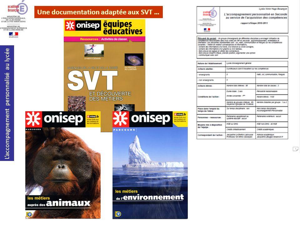 Laccompagnement personnalisé au lycée Une documentation adaptée aux SVT …