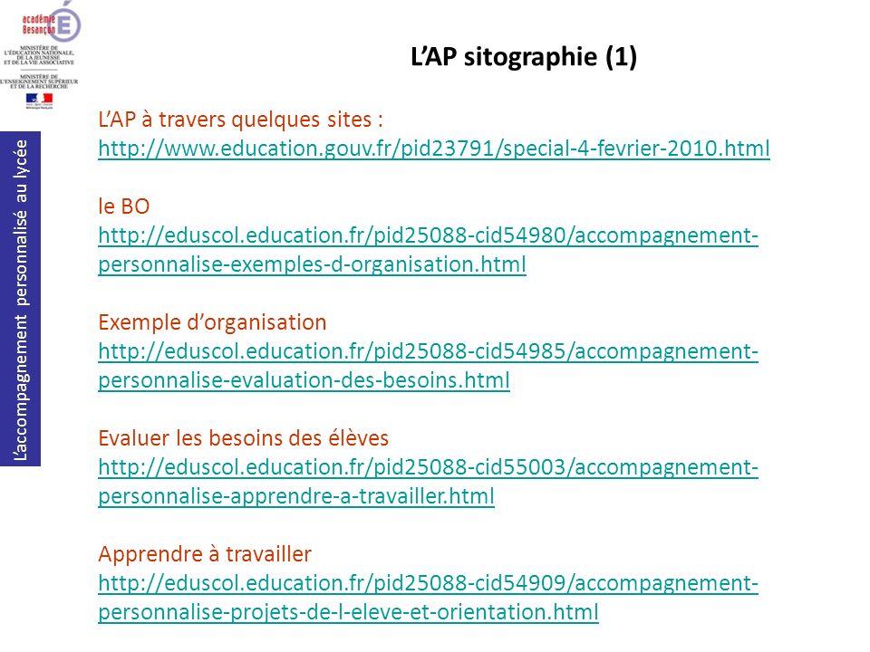 Laccompagnement personnalisé au lycée LAP à travers quelques sites : http://www.education.gouv.fr/pid23791/special-4-fevrier-2010.html le BO http://ed