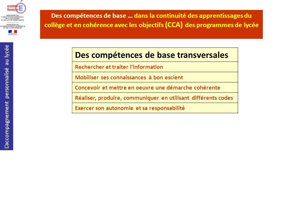 Laccompagnement personnalisé au lycée Des compétences de base … dans la continuité des apprentissages du collège et en cohérence avec les objectifs (C