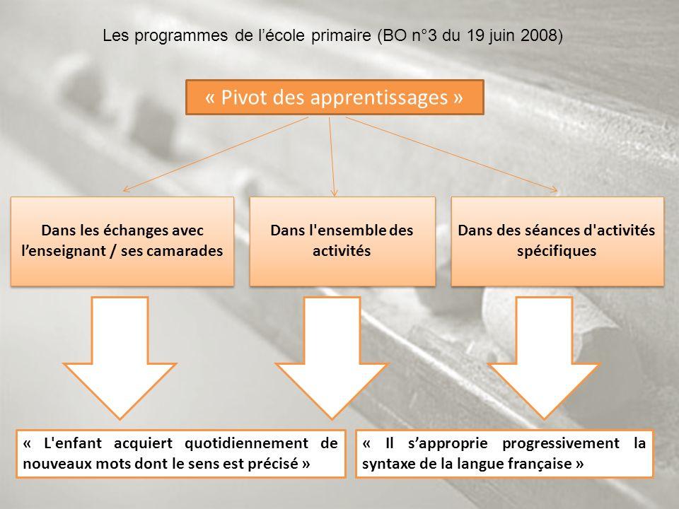 « Il sapproprie progressivement la syntaxe de la langue française » Les programmes de lécole primaire (BO n°3 du 19 juin 2008) Dans les échanges avec