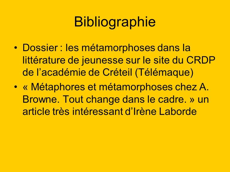 Bibliographie Dossier : les métamorphoses dans la littérature de jeunesse sur le site du CRDP de lacadémie de Créteil (Télémaque) « Métaphores et méta