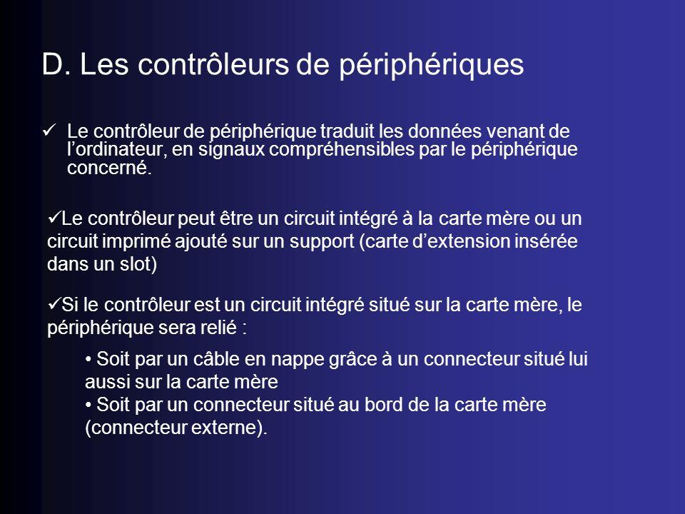 D. Les contrôleurs de périphériques Le contrôleur de périphérique traduit les données venant de lordinateur, en signaux compréhensibles par le périphé