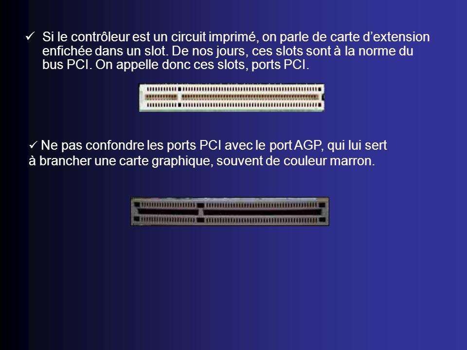 Si le contrôleur est un circuit imprimé, on parle de carte dextension enfichée dans un slot. De nos jours, ces slots sont à la norme du bus PCI. On ap