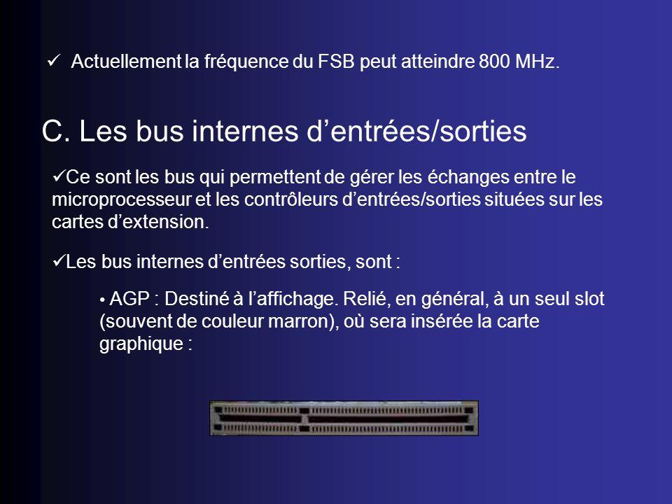 Actuellement la fréquence du FSB peut atteindre 800 MHz. C. Les bus internes dentrées/sorties Ce sont les bus qui permettent de gérer les échanges ent