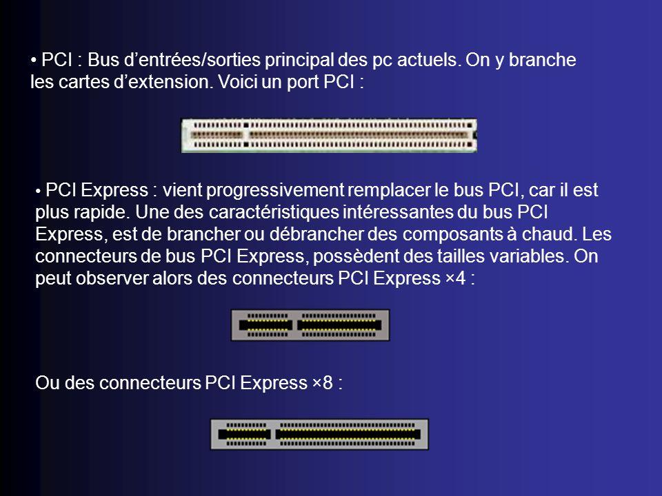 PCI : Bus dentrées/sorties principal des pc actuels. On y branche les cartes dextension. Voici un port PCI : PCI Express : vient progressivement rempl