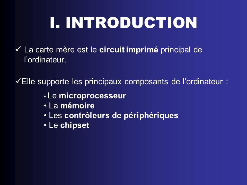 I. INTRODUCTION La carte mère est le circuit imprimé principal de lordinateur. Elle supporte les principaux composants de lordinateur : Le microproces