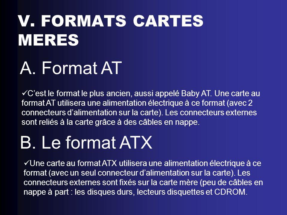 V. FORMATS CARTES MERES A. Format AT Cest le format le plus ancien, aussi appelé Baby AT. Une carte au format AT utilisera une alimentation électrique