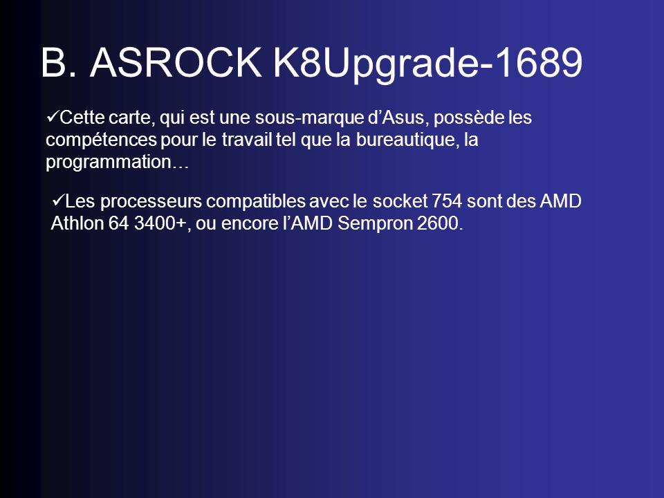 B. ASROCK K8Upgrade-1689 Cette carte, qui est une sous-marque dAsus, possède les compétences pour le travail tel que la bureautique, la programmation…