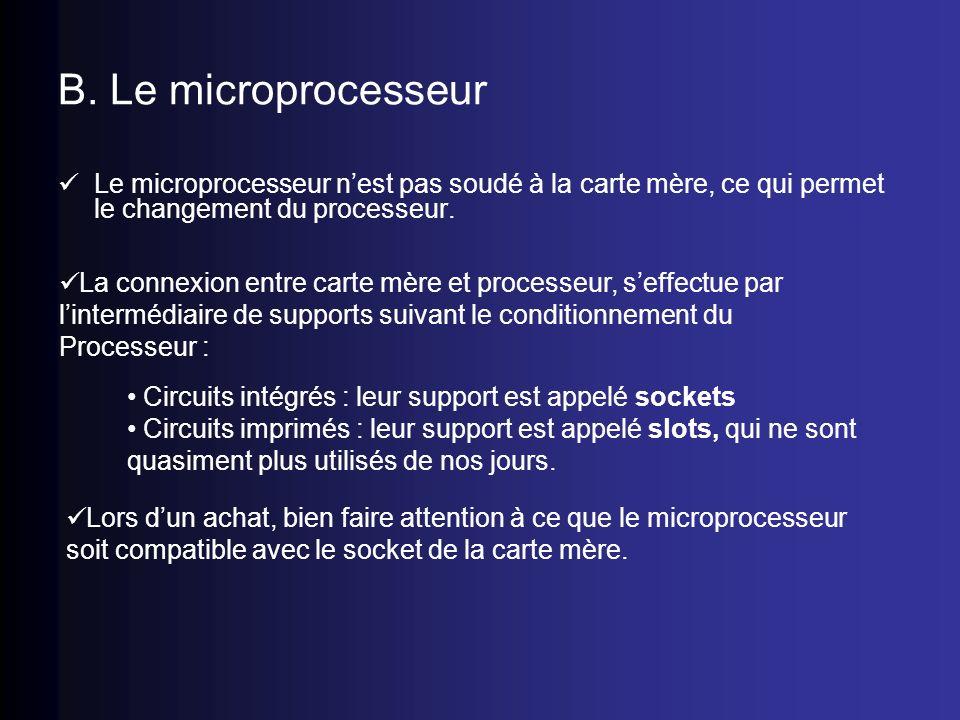 B. Le microprocesseur Le microprocesseur nest pas soudé à la carte mère, ce qui permet le changement du processeur. La connexion entre carte mère et p