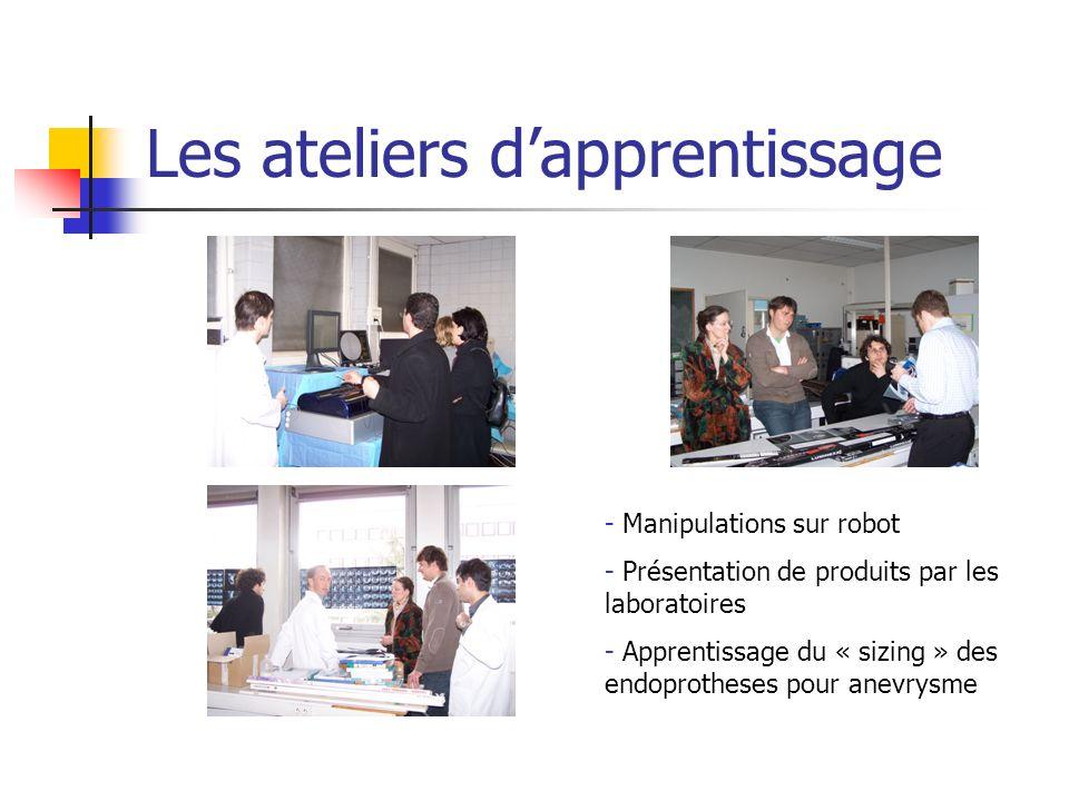 Les ateliers dapprentissage - Manipulations sur robot - Présentation de produits par les laboratoires - Apprentissage du « sizing » des endoprotheses