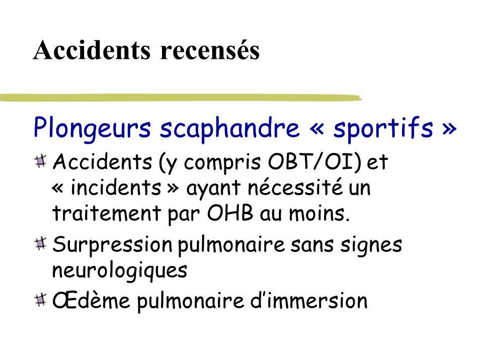 Accidents recensés Plongeurs scaphandre « sportifs » Accidents (y compris OBT/OI) et « incidents » ayant nécessité un traitement par OHB au moins. Sur