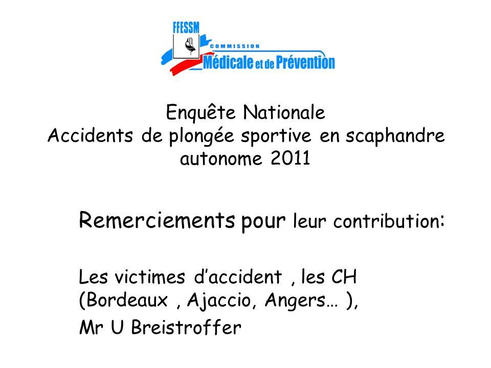 Enquête Nationale Accidents de plongée sportive en scaphandre autonome 2011 Remerciements pour leur contribution : Les victimes daccident, les CH (Bor