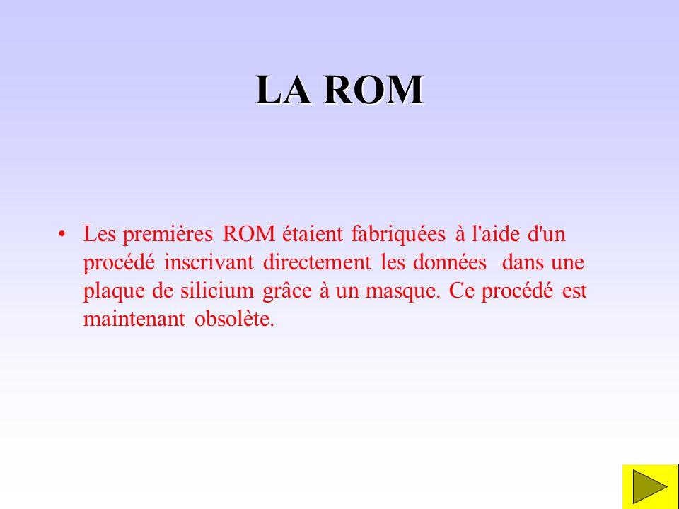 LA ROM Les premières ROM étaient fabriquées à l'aide d'un procédé inscrivant directement les données dans une plaque de silicium grâce à un masque. Ce