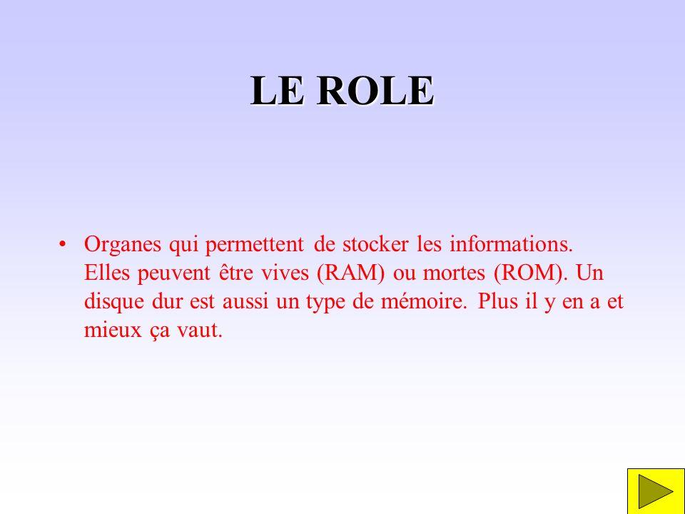 LE ROLE Organes qui permettent de stocker les informations. Elles peuvent être vives (RAM) ou mortes (ROM). Un disque dur est aussi un type de mémoire