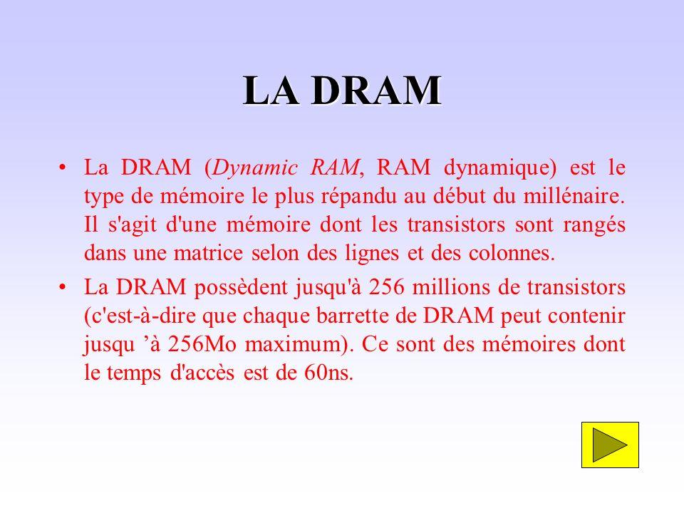LA DRAM La DRAM (Dynamic RAM, RAM dynamique) est le type de mémoire le plus répandu au début du millénaire. Il s'agit d'une mémoire dont les transisto