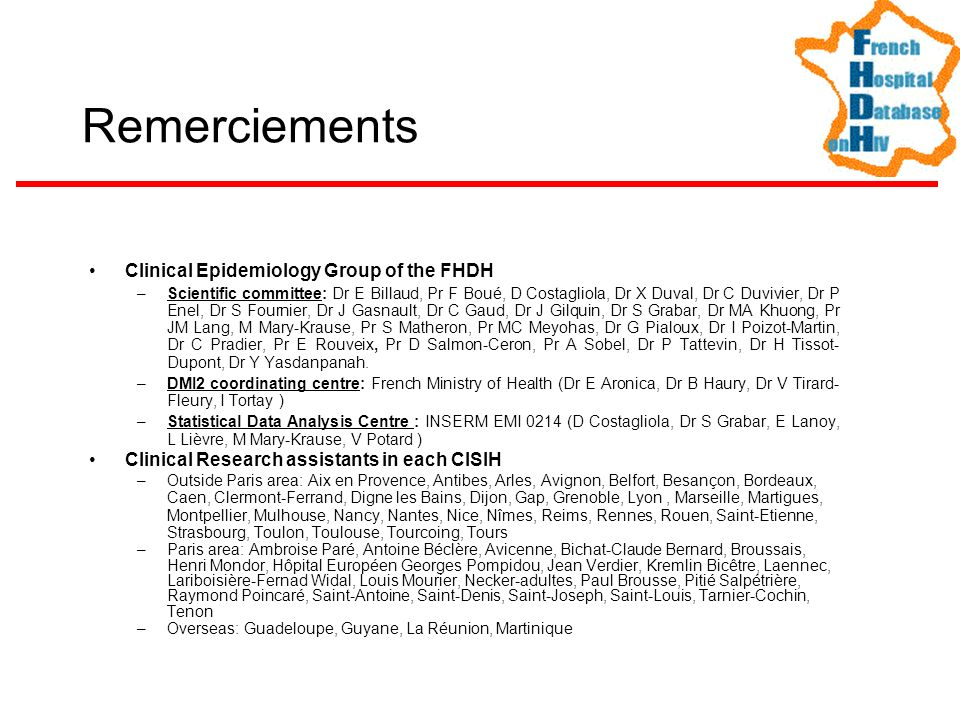 Clinical Epidemiology Group of the FHDH –Scientific committee: Dr E Billaud, Pr F Boué, D Costagliola, Dr X Duval, Dr C Duvivier, Dr P Enel, Dr S Four
