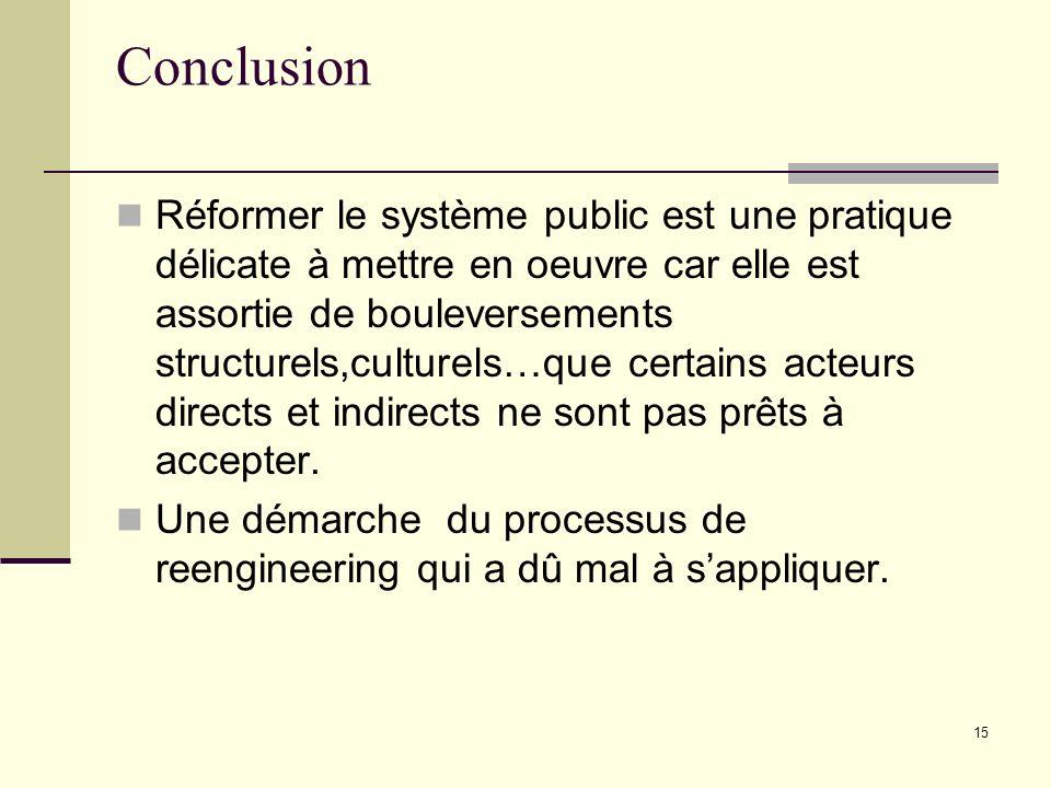 15 Conclusion Réformer le système public est une pratique délicate à mettre en oeuvre car elle est assortie de bouleversements structurels,culturels…q