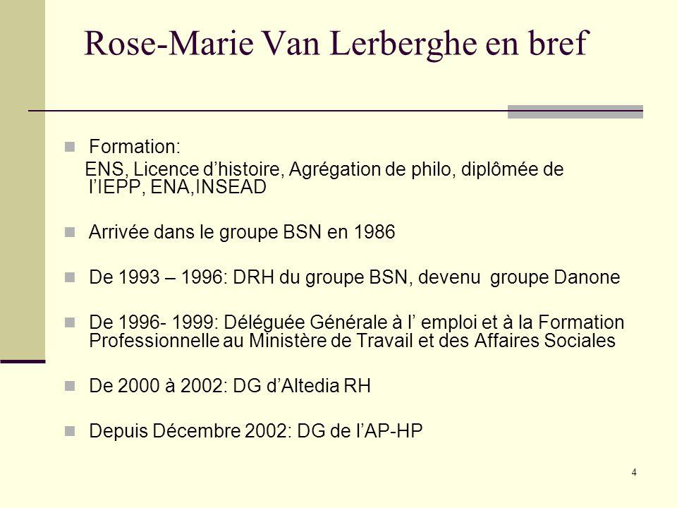 4 Rose-Marie Van Lerberghe en bref Formation: ENS, Licence dhistoire, Agrégation de philo, diplômée de lIEPP, ENA,INSEAD Arrivée dans le groupe BSN en