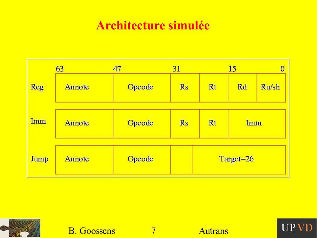 Micro-architecture simulée 8 B. Goossens Autrans