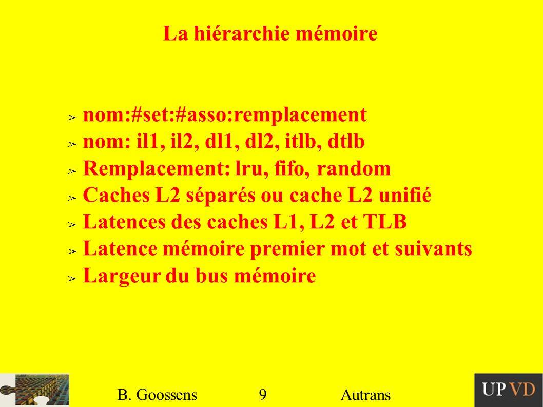 9 B. Goossens Autrans La hiérarchie mémoire nom:#set:#asso:remplacement nom: il1, il2, dl1, dl2, itlb, dtlb Remplacement: lru, fifo, random Caches L2