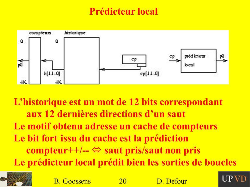 20 B. Goossens D. Defour20 B. Goossens D. Defour Prédicteur local Lhistorique est un mot de 12 bits correspondant aux 12 dernières directions dun saut