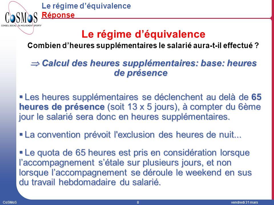 CoSMoS8vendredi 31 mars Le régime déquivalence Réponse Le régime déquivalence Combien dheures supplémentaires le salarié aura-t-il effectué .