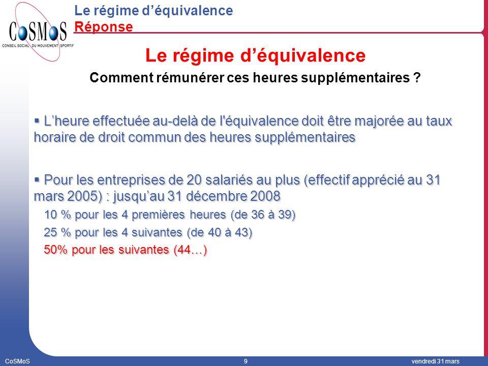 CoSMoS9vendredi 31 mars Le régime déquivalence Réponse Le régime déquivalence Comment rémunérer ces heures supplémentaires .