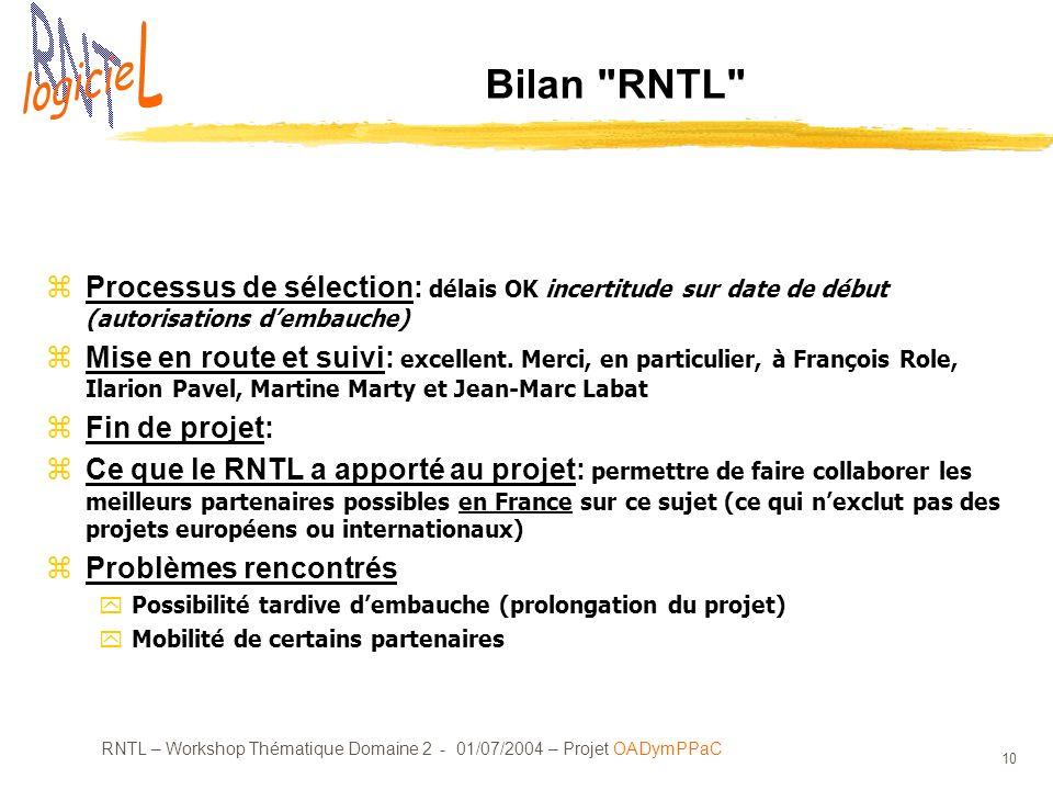 RNTL – Workshop Thématique Domaine 2 - 01/07/2004 – Projet OADymPPaC 10 Bilan RNTL Processus de sélection: délais OK incertitude sur date de début (autorisations dembauche) Mise en route et suivi: excellent.