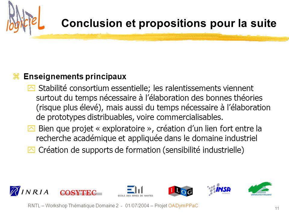 RNTL – Workshop Thématique Domaine 2 - 01/07/2004 – Projet OADymPPaC 11 Conclusion et propositions pour la suite zEnseignements principaux y Stabilité