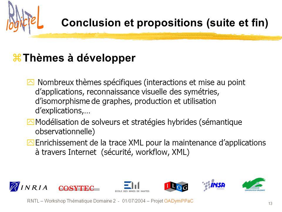 RNTL – Workshop Thématique Domaine 2 - 01/07/2004 – Projet OADymPPaC 13 Conclusion et propositions (suite et fin) zThèmes à développer y Nombreux thèm