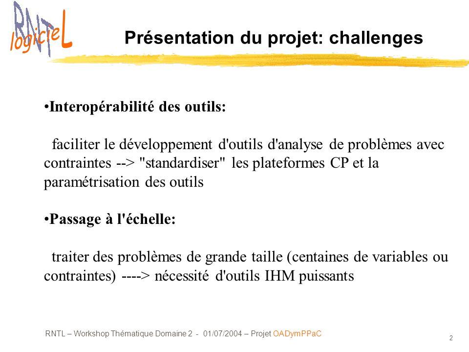 RNTL – Workshop Thématique Domaine 2 - 01/07/2004 – Projet OADymPPaC 2 Présentation du projet: challenges Interopérabilité des outils: faciliter le développement d outils d analyse de problèmes avec contraintes --> standardiser les plateformes CP et la paramétrisation des outils Passage à l échelle: traiter des problèmes de grande taille (centaines de variables ou contraintes) ----> nécessité d outils IHM puissants