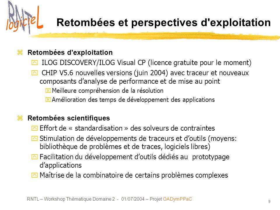 RNTL – Workshop Thématique Domaine 2 - 01/07/2004 – Projet OADymPPaC 9 Retombées et perspectives d'exploitation zRetombées d'exploitation y ILOG DISCO