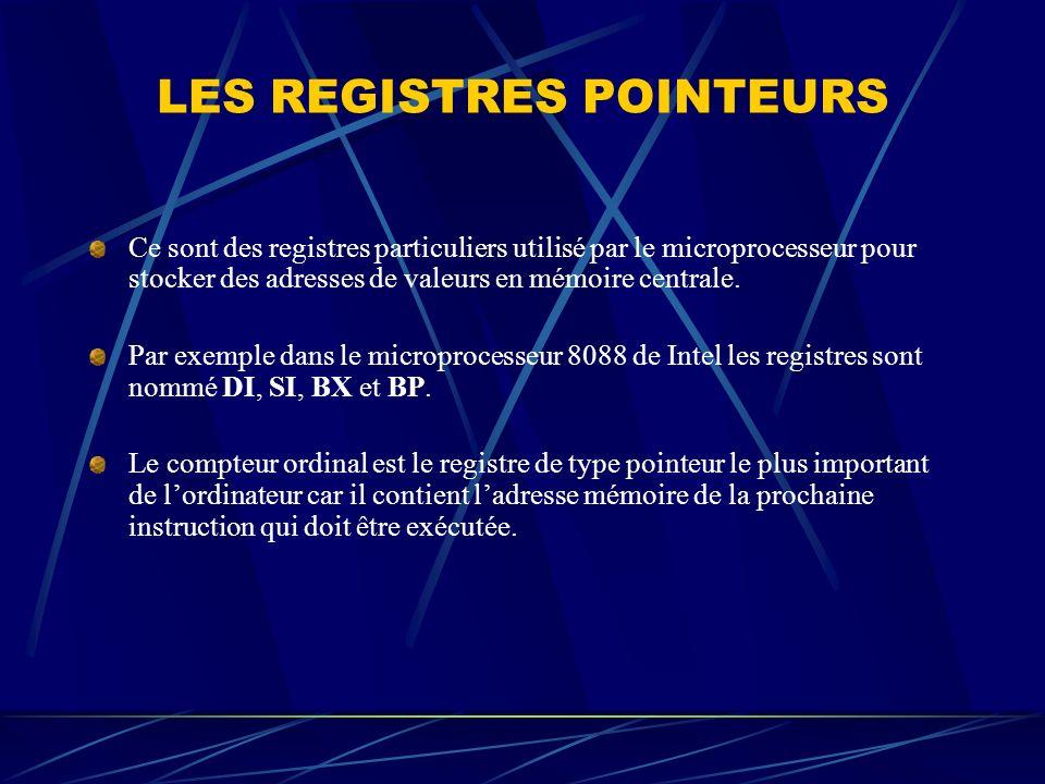 LES REGISTRES POINTEURS Ce sont des registres particuliers utilisé par le microprocesseur pour stocker des adresses de valeurs en mémoire centrale. Pa